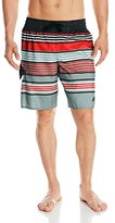 adidas Men's Textured-Stripe Volley Swim Trunk