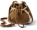 Lands' End Girls Faux Shearling Bag-Rich Red Dot