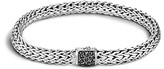 John Hardy Men's Classic Chain Sterling Silver Lava Medium Bracelet with Black Sapphires
