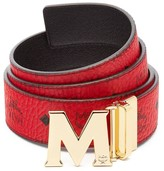 MCM Claus M Reversible Belt in Black Logo Visetos