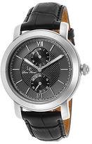 Lucien Piccard 40026-01 Men's Spiga Black Genuine Leather Black and Grey Dial