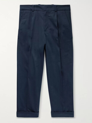 Acne Studios Cropped Tapered Pleated Stretch-Cotton Trousers - Men - Blue