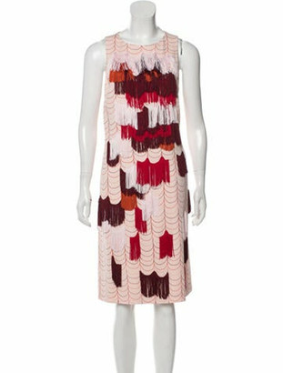 Bottega Veneta Silk Fringe-Trimmed Dress Pink