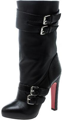 Christian Louboutin Black Python and Leather Loubi Bike Boots Size 37.5