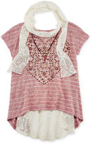 Knitworks Knit Works Cap-Sleeve Top with Scarf and Necklace - Girls 7-16 and Plus