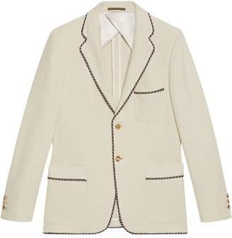 Gucci slogan patch knit jersey jacket