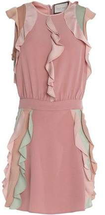 Alexis Ruffle-Trimmed Color-Block Crepe Mini Dress