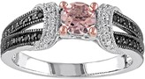 Sterling Silver Morganite & 1/4 Carat T.W. Diamond Split Shank Ring
