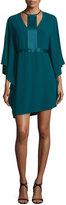 Halston Contrast-Trim Half-Sleeve Dress, Spruce