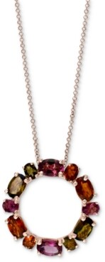 """Effy Tourmaline Circle 18"""" Pendant Necklace (4-1/10 ct. t.w.) in 14k Rose Gold"""