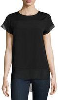 Neiman Marcus Short-Sleeve High-Low Tee, Black