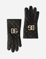Thumbnail for your product : Dolce & Gabbana Quilted nappa leather gloves with logo
