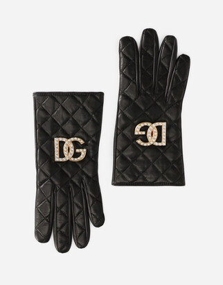 Dolce & Gabbana Quilted nappa leather gloves with logo