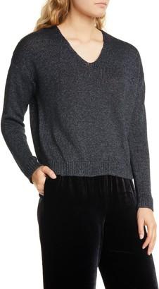 Eileen Fisher V-Neck Organic Linen Blend Sweater