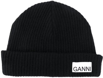 Ganni Recycled Wool Ribbed-Knit Hat