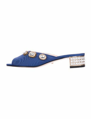 Gucci Moire Mules Crystal Embellishments Slides w/ Tags Blue