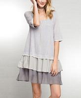 Jane Heather & Blue Ruffle-Hem Shift Dress