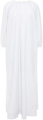 The Row Gathered Pinstriped Cotton-poplin Maxi Dress