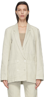 Lemaire Beige Denim Double-Breasted Blazer