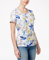 Karen Scott Petite Floral-Print T-Shirt, Only at Macy's