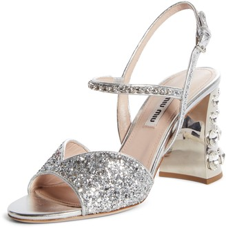 Miu Miu Embellished Block Heel Sandal