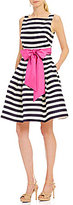 Eliza J Stripe Fit And Flare Midi Dress