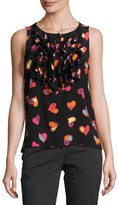 Moschino Sleeveless Ruffled Heart-Print Blouse, Black