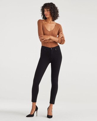 7 For All Mankind High Waist Ankle Skinny in Black