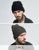 Reclaimed Vintage Inspired Oversized Beanie 2 Pack Black/Green