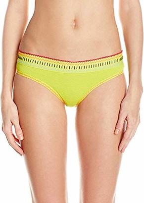 Agua Bendita Women's Positano Cards Bendito Timbal Hipster Bikini Bottom with Crochet Trim Detailing