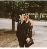 NOA ELLE Noa Elle Women's Cold-shoulder Shear Long Sleeve Harley Top..