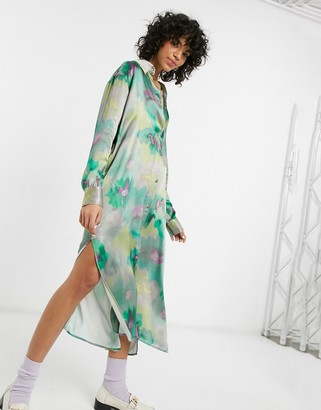 Weekday Parisa satin shirt dress