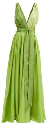Kalita Adonis V-neck Silk-habotai Maxi Dress - Green Multi