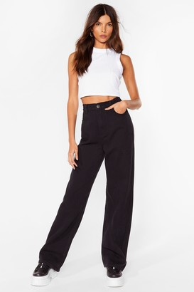 Nasty Gal Womens Denim Relaxed High Waisted Jeans - Washed Black