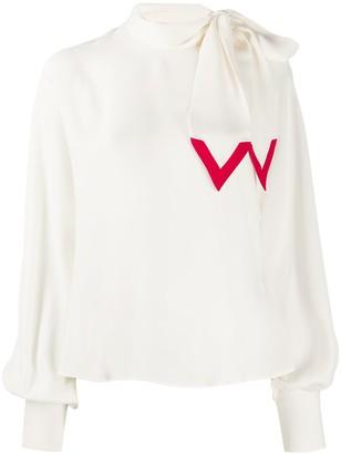Valentino V-edge tie-neck blouse