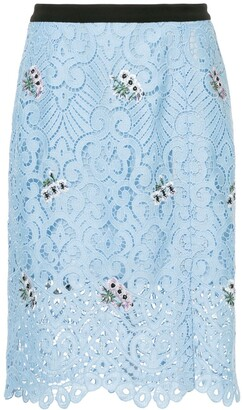Markus Lupfer Embroidered Guipure Lace Skirt