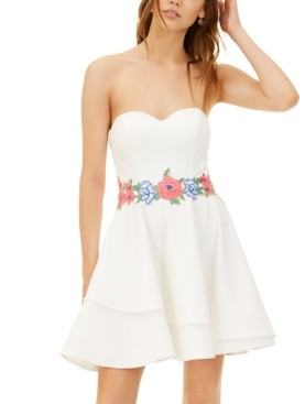 B. Darlin Juniors' Strapless Embroidered Fit & Flare Dress