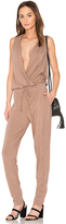 Bobi Modal Jersey Drape Front Jumpsuit