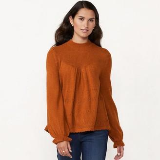 Lauren Conrad Women's Mockneck Victorian-Style Sweater