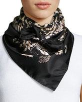 Roberto Cavalli Foulard Leopard-Print Silk Square Scarf, Black Pattern