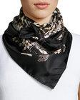 roberto cavalli foulard leopardprint silk square scarf black pattern