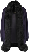 Love Moschino Faux fur-trimmed wool-blend coat