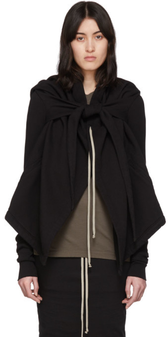 Rick Owens Black Oversized Cropped Wrap Hoodie