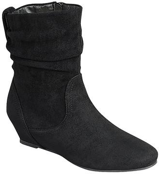 Moca moca Women's Casual boots BLACK - Black Ruched Low-Wedge Boot - Women
