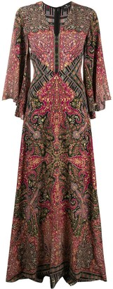Etro Patchwork-Print Long Silk Dress