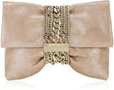 Jimmy Choo Chandra S Sand Shimmer Suede Clutch Bag