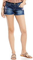 YMI Jeanswear Floral-Embroidered Frayed Hem Destructed Woven Stretch Denim Shorts