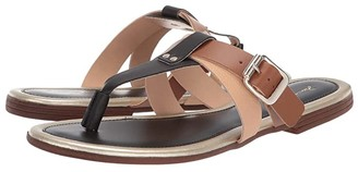Massimo Matteo Thong with Straps (Black/Bark) Women's Slide Shoes