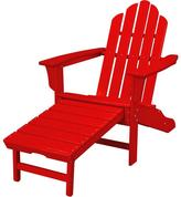 All-Weather Contoured Adirondack Chair with Hideaway Ottoman - Sunset Red