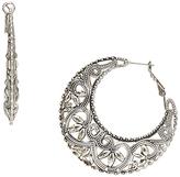 Carole Silvertone Filigree Hoop Earrings